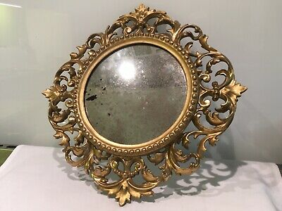 Small Antique Carved  Italin Ornate Giltwood Mirror With Foxed Glass