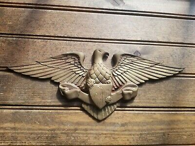 "RARE Vintage Brass American Eagle Wall Hanging Decor 13"" Wing Span with Shield"