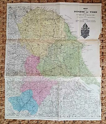 Vintage Map Of Diocese Of York Printed By Wh Smith, York Public Library