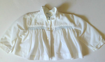 Harringtons Baby Suit White with blue smocking   Jacket and Nappy Pants  1960s