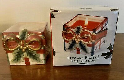 2002 Fitz and Floyd Plaid Christmas Candlecup Spicy Candle New In Box.