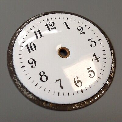 Antique Vintage White Enamel Clock Dial Face Clock Maker's Spare Part Ornament