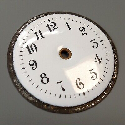 Antique Vintage White Enamel Clock Dial Face Clock Maker's Spare Part