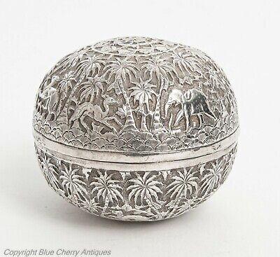 Antique Indian Lucknow Silver Round Box with Elephants & Animal Decoration