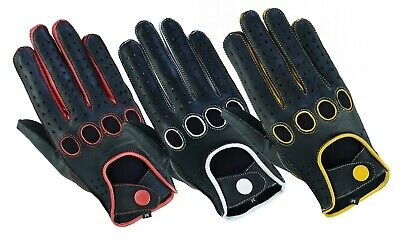 Men's Classic Genuine Real Soft Leather Chauffeur Driving Gloves Reverse Stitch