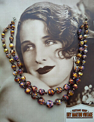 Vintage Art Deco Bohemian Czech Venetian Fiery Opal Foil Beads Necklace Gift