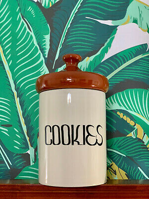 VTG 1970s MID Century Modern Typography Cookies Canister Art Pottery Jar & Lid