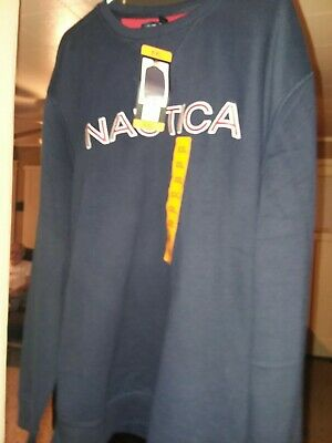 Nautica Mens Signature Spellout Sweatshirt Size XXL Crew Neck Navy Blue Red