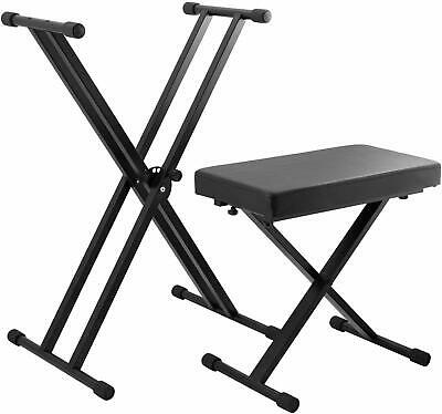 Tiger Piano for most standard Keyboards Stand and Stool Set, Black FREE DELIVERY