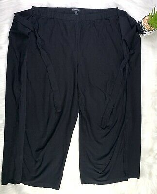 Eileen Fisher RARE Womens Large Viscose Pull On Stretch Cropped Capri Pants