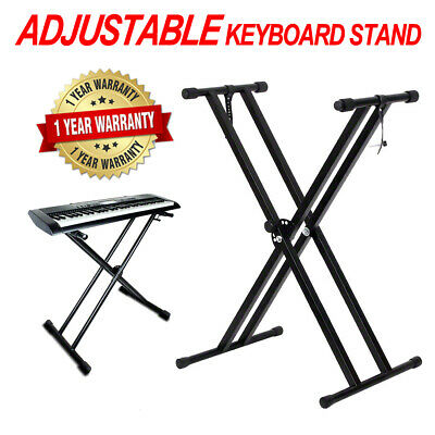Folding Double Braced X Style Adjustable Music Piano Keyboard Stand Height AU