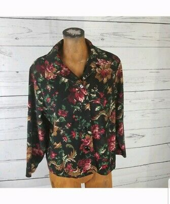 Briggs New York Womens Button Down Shirt Large Black Red Floral Long Sleeve