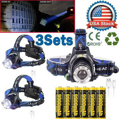 Rechargeable 350000Lumen T6 LED Zoomable Headlamp USB Headlight 18650 Head Light