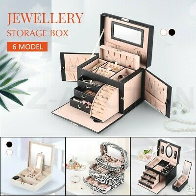 Large Jewellery Box Organiser Girl Rings Necklace Storage Display Gift Case Lock