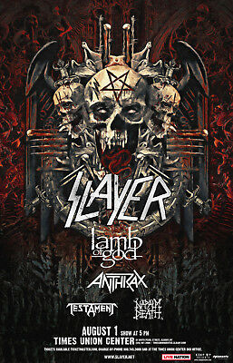Slayer/Lamb Of God/Anthrax 2018 Concert Tour Poster For Minneapolis Or Albany,Ny