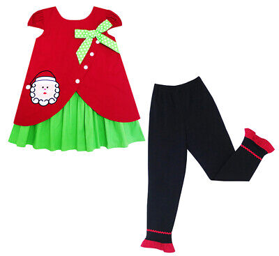 Sunny Fashion Girls Outfit Set Christmas Santa Embroidered Pants Size 2-6