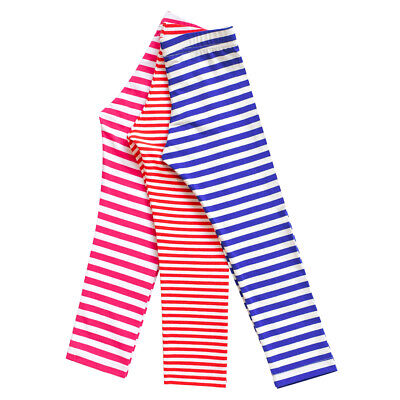 Sunny Fashion Girls Pants 3-Pack Cotton Leggings Striped Stretchy Kids Size 2-6