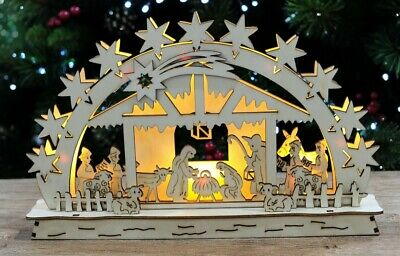 Led Kraft Nativity Scene