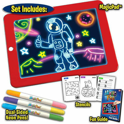 Magic Pad Light Up Drawing Pad with Neon Pen Creative Glow Art Light Effect UK!!