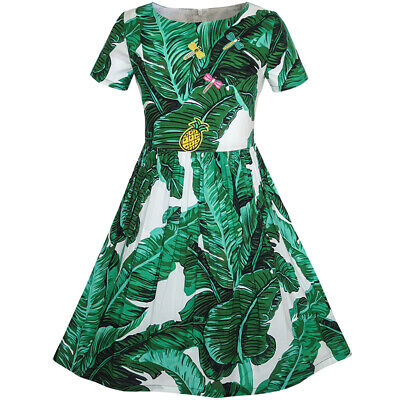 Girls Dress Green Leaf Print Pineapple Dragonfly Sundress Age 5-10 Years