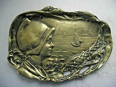 Antique Brass Art Nouveau Trinket Ring Tray Dutch Girl With Fishing Nets & Boats