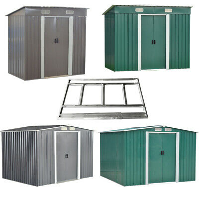 Metal Garden Shed Pent/Apex Roof Outdoor Tools Storage With Free Foundation UK
