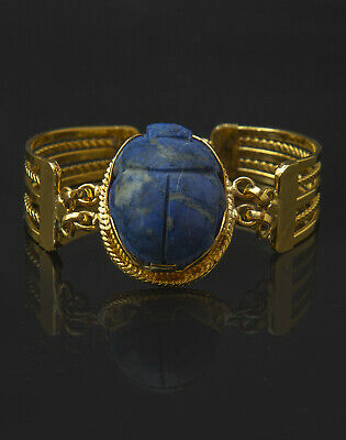 VINTAGE EGYPTIAN BRECLT PHARAONIC GOLD Plated LAPIS LAZULI SCARAB EGYPT STONE BC