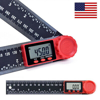1Pcs 0-200mm inches Stainless Steel Digital Protractor Angle Finder Ruler Z2O7
