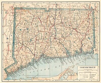 1921 Antique CONNECTICUT MAP Vintage Map of Connecticut State Map 5157