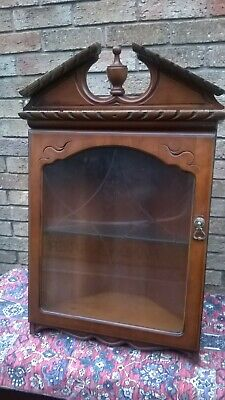 """""L@@K"""" Old Antique Style Solid Wood & Glass Corner Display Wall Unit Cabinet"