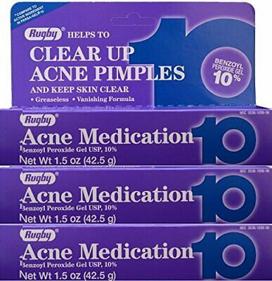 Rugby Acne Medication Gel Benzoyl Peroxide 10% Pimples 1.5 oz (Pack of 3) - New