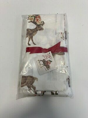 Pottery Barn Silly Stag Napkin Set (Set of 4) Christmas Holiday Napkins NEW in P