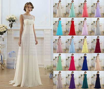Lace Long Formal Wedding Evening Ball Gown Party Prom Bridesmaid Dress Size 6-24