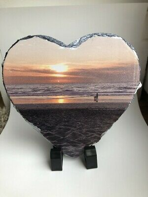 Personalised Natural Heart Rock Slate Any Custom Photo Gift With Stands christma
