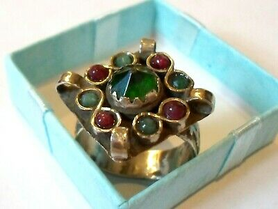 Luxury Gifts,Detector Find&Polished,Post Medieval Ae Ring With Real Emeralds&Rub