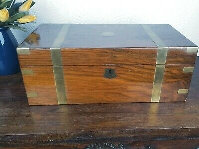 Victorian Writing Slope/Box Brass Bound With Secret Drawers