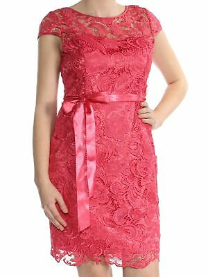 Adrianna Papell Women's Pink Size 2 Floral Lace Illusion Sheath Dress $189- #061