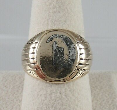 "Art DEco Mens Signet Ring ""D"" 10k yellow Gold Size 9.5 Cut off"