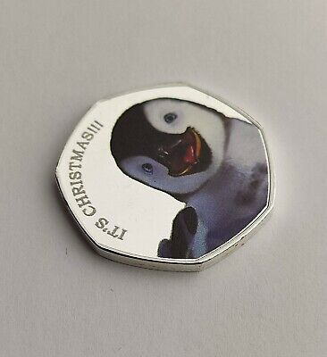 2019 Christmas 50p Cheeky Penguin Coin Error Numbered Card Medal Rare Bu