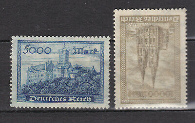 Germany Deutsches Reich 1923 Mi. Nr. 261-262 Wartburg Castle and Kölner Dom MNH