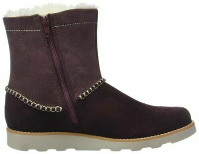 Clarks Crown Piper Girls First Faux Fur Suede Ankle Boots 5G Burgundy Suede