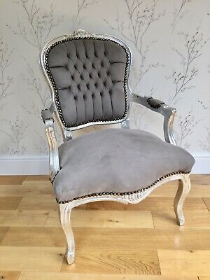 French Louis Style Shabby Chic Chair Grey  Velvet Silver Wooden Frame