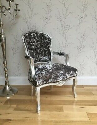 French Louis Style Shabby Chic Chair Grey  Crushed Velvet W Silver Wooden Frame