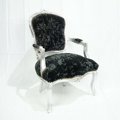 French Louis Shabby Chic Chair Black Crushed Velvet With Silver Frame