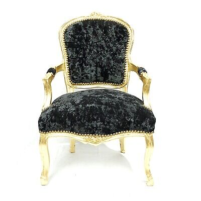 French Louis Shabby Chic Chair Black Crushed Velvet With Gold Frame