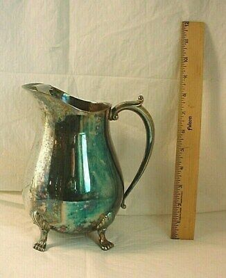 Ornate Footed Pitcher w Ice Lip and Handle Metal Leonard 8 inch Vase