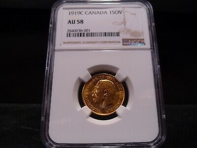 1919C AU58 George V Canada Gold Sovereign NGC Certified - Super Nice !