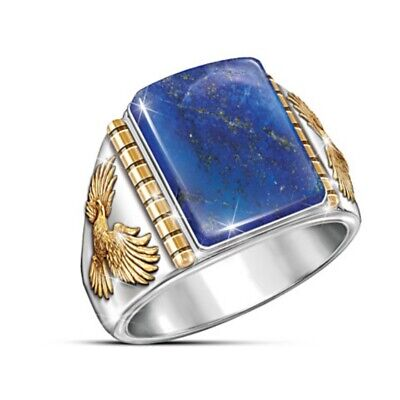 Exquisite Men Jewelry Blue Men's Rings 925 Silver Ring Lapis Inlay Eagles Ring
