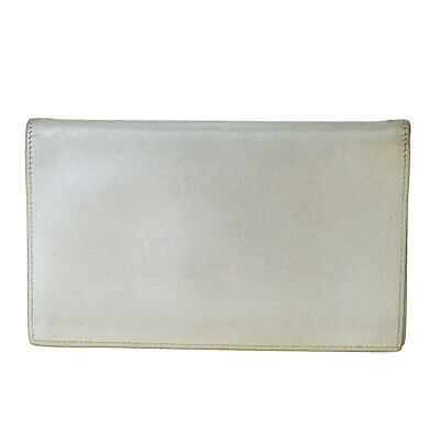 Authentic HERMES Logos Agenda Day Planner Notebook Cover Leather Silver 08BK708