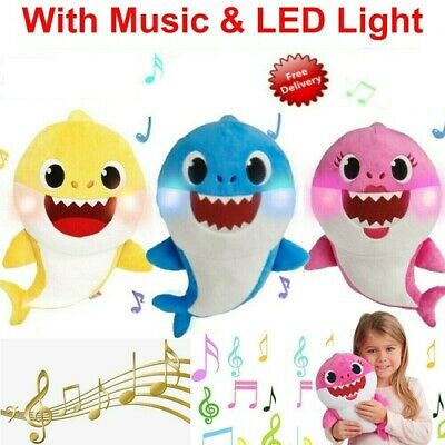 Soft Baby Plush Shark Singing Toys LED&Music Doll English Song Toys for Kids